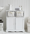 Maine white bathroom cabinet with double cupboard and basket drawers