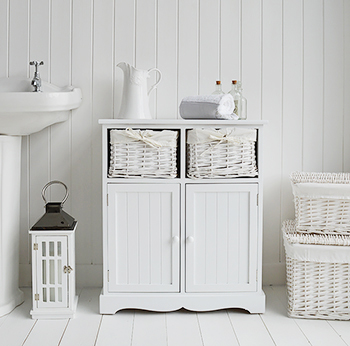 White Bathroom cabinets - White Storage furniture