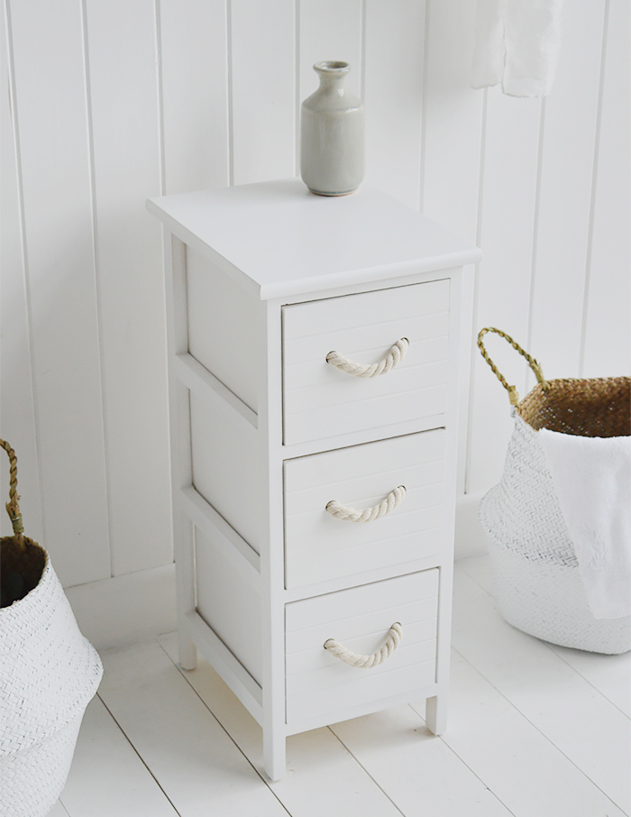 Narrow white bathroom cabinet 23 cm wide