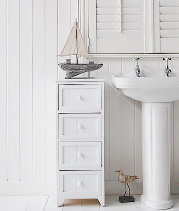 Maine Narrow Freestanding Bathroom Cabinet With 4 Drawers