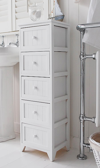 A side view of the Maine 5 drawer tall bathroom cabinet