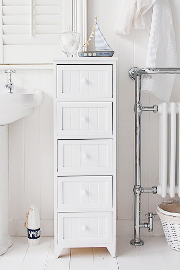 A 5 drawer tall narrow bathroom cabinet from The Maine Range of simple but classic bathroom furniture