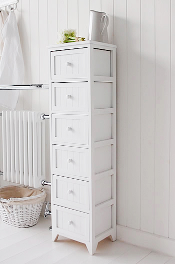 Maine Narrow Tall Freestanding Bathroom Cabinet With Drawers For