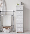 Maine 6 drawer white bathroom cabinet for storage furniture