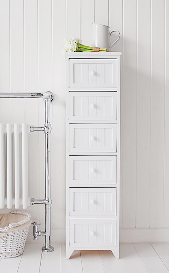 Maine white tall bathroom storage with 6 drawers