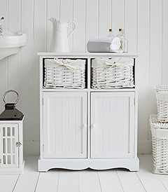 Maine large white bathroom cabinet with double cupboard and basket drawers