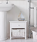 New Haven white bathroom furniture with basket storage