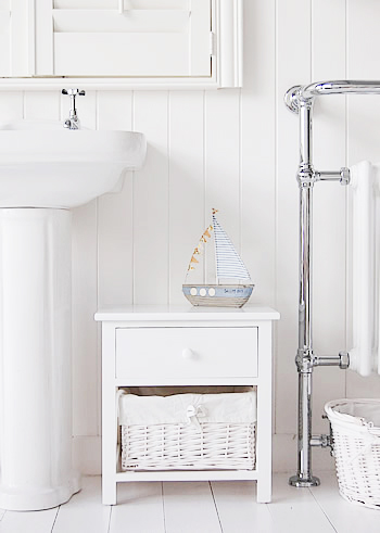 New Haven small white bathroom cabinet with baskets