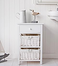 White bathroom cabinet with drawers and baskets New Haven