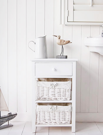 New Haven white bathroom cabinet with baskets