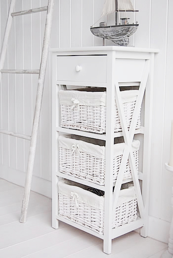 New Haven white tall basket unit for white bedroom and bathroom storage furniture