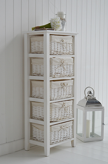 Newport Tall Storage Basket Unit With 5 Drawers From The White Lighthouse