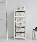 Tall white basket storage with 5 drawers