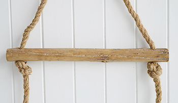 Bathroom rope towel ladder. Rope ladder for towels, blankets and throws from The White Lighthouse. Coastal and New England Furniture for hallway, living room, bedroom and bathroom