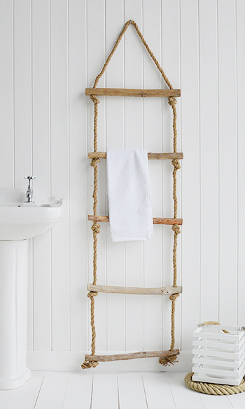 Rope ladder for towels, blankets and throws from The White Lighthouse. Coastal and New England Furniture for hallway, living room, bedroom and bathroom. Towel rail