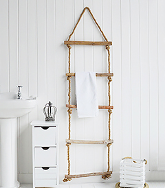 Rope ladder for blankets, throws and towels. The White Lighthouse Furniture for the bedroom, bathroom living room and bedroom in coastal New England and Country interior styles