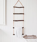 Rope ladder towel storage