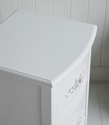 White batrhoom cabinet with Rose handles for a white cottage bathroom