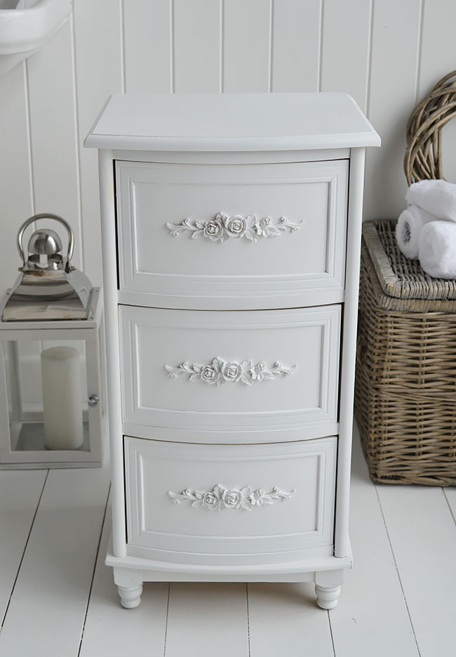 White Rose Bathroom Cabinet With 3 Drawers Bathroom