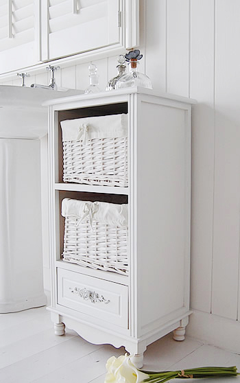 Rose White Bathroom Cabinet Freestanding Storage