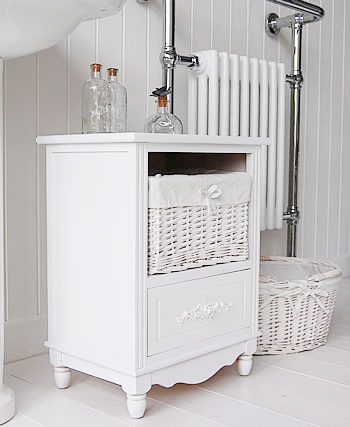 side view of the Rose White Bathroom storage cabinet