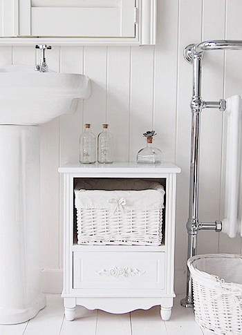 Rose White Small Bathroom Cabinet Freestanding Storage