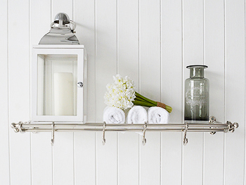 Vintage style chrome luggage shelf for bathroom