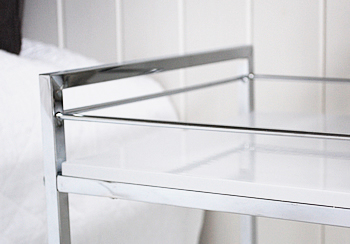 close image of the white gloss shelf and chrome structure