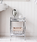 White and Chrome small bathroom shelf unit. Gloss white shelves ideal for storing towels