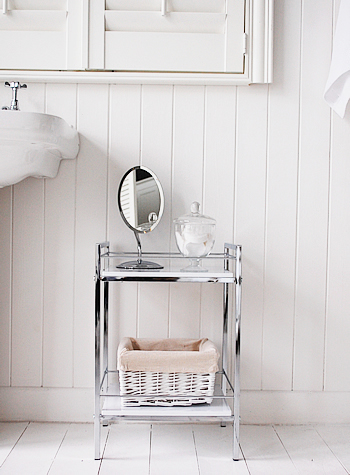 White Gloss And Chrome Small Bathroom Shlelf For Small Spaces
