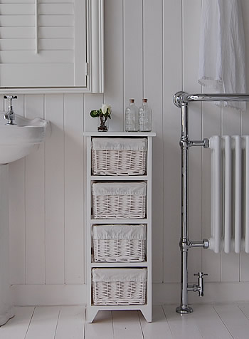 Free standing bathroom cabinets free standing bathroom cabinets - Painted Free Standing Slim Bathroom Cabinet With 4 Basket