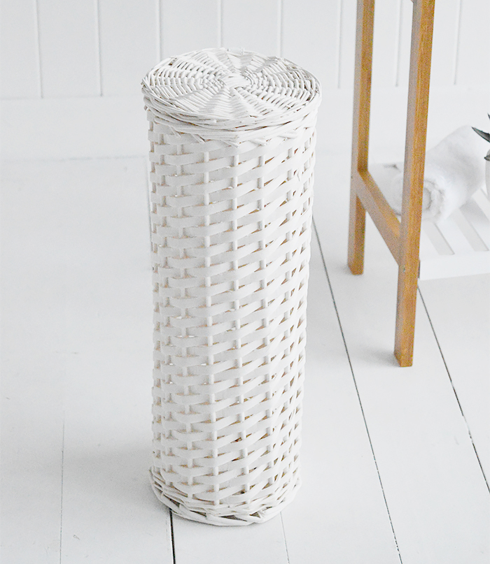 Boothbay White Toilet Roll Basket