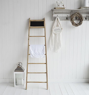 Dorchester Blanket Ladder from The White Lighthouse Coastal, Country, New England, White and Scandinavian furniture and home interior design