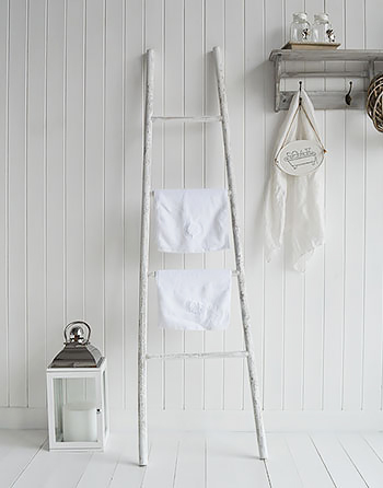 White decorative towel ladder