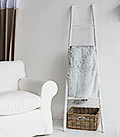 New Hampshire ladder for throws and blankets in white living room