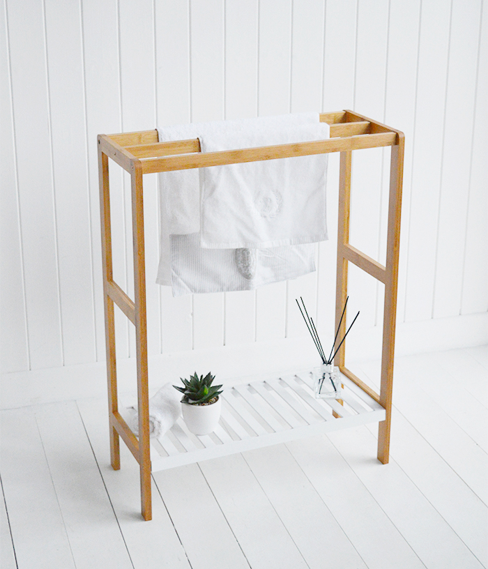 Wooden towel stand with white shelf