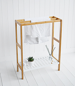 Connecticut Freestanding Towel Stand with 3 rails and white shelf