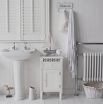 Westport white bathroom cabinet perfect for cleaning bottles