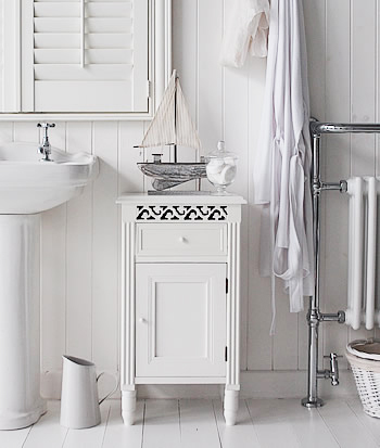 the westport white bathroom cabinet with cupboard and drawer