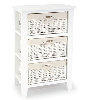 Newport White Freestanding 3 Drawer Basket Storage Unit