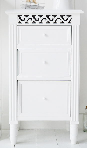 White bathroom cabinet free standing with drawers