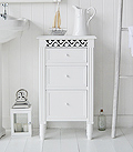 White bathroom cabinet with drawers