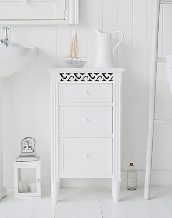 White bathroom cabinet with drawers for bathroom toiletries and make up. Traditionally white furniture in the bathroom is the most used as it reflects lighthouse in what in generally a small space