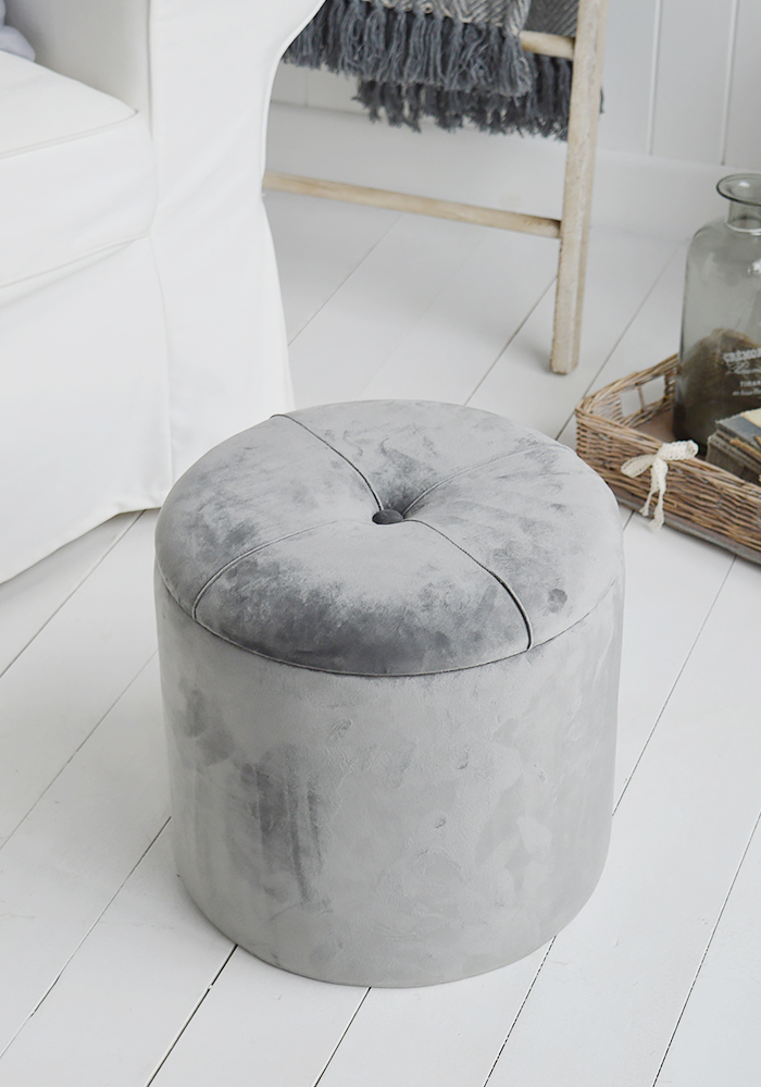 The White Lighthouse New England Country and Coastal Furniture for the living room. Our Barrington grey storage foot stool in front to a sofa