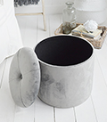 The White Lighthouse New England Country and Coastal Furniture for the living room. Our Barrington grey storage foot stool