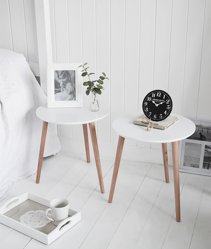 Bethel Cove simple pair of  white bedside table for coastal, country and scandi style interiors