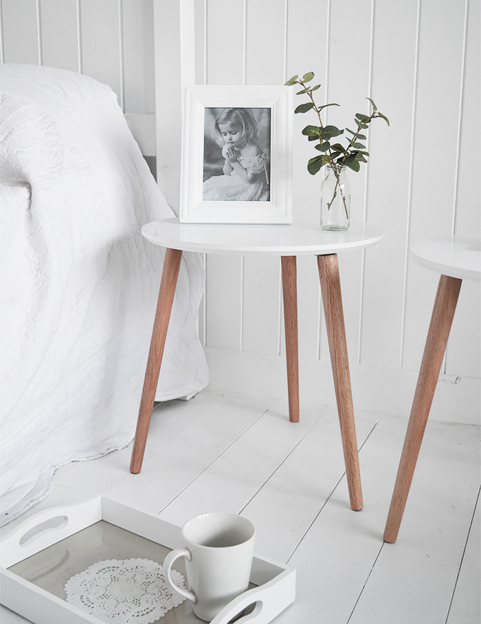 Bethel Cove simple white bedside table for coastal, country and scandi style interiors
