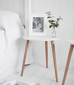 Bethel Cove simple white bedside table for coastal, country and scandi style interiors from The White Lighthouse