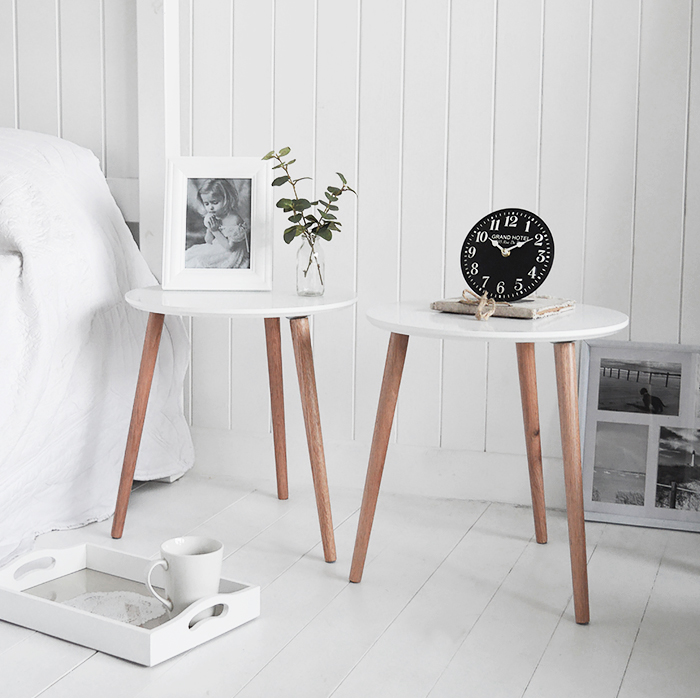 Bethel Cove simple pair of  white bedside table for coastal, country and scandi style bedroom interiors