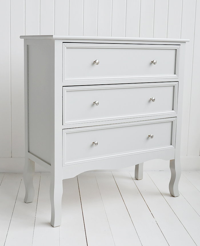 Camden Chest of Grey Drawers for Bedroom Furniture in New England, Country Coastal Country and White Interiors. From the side